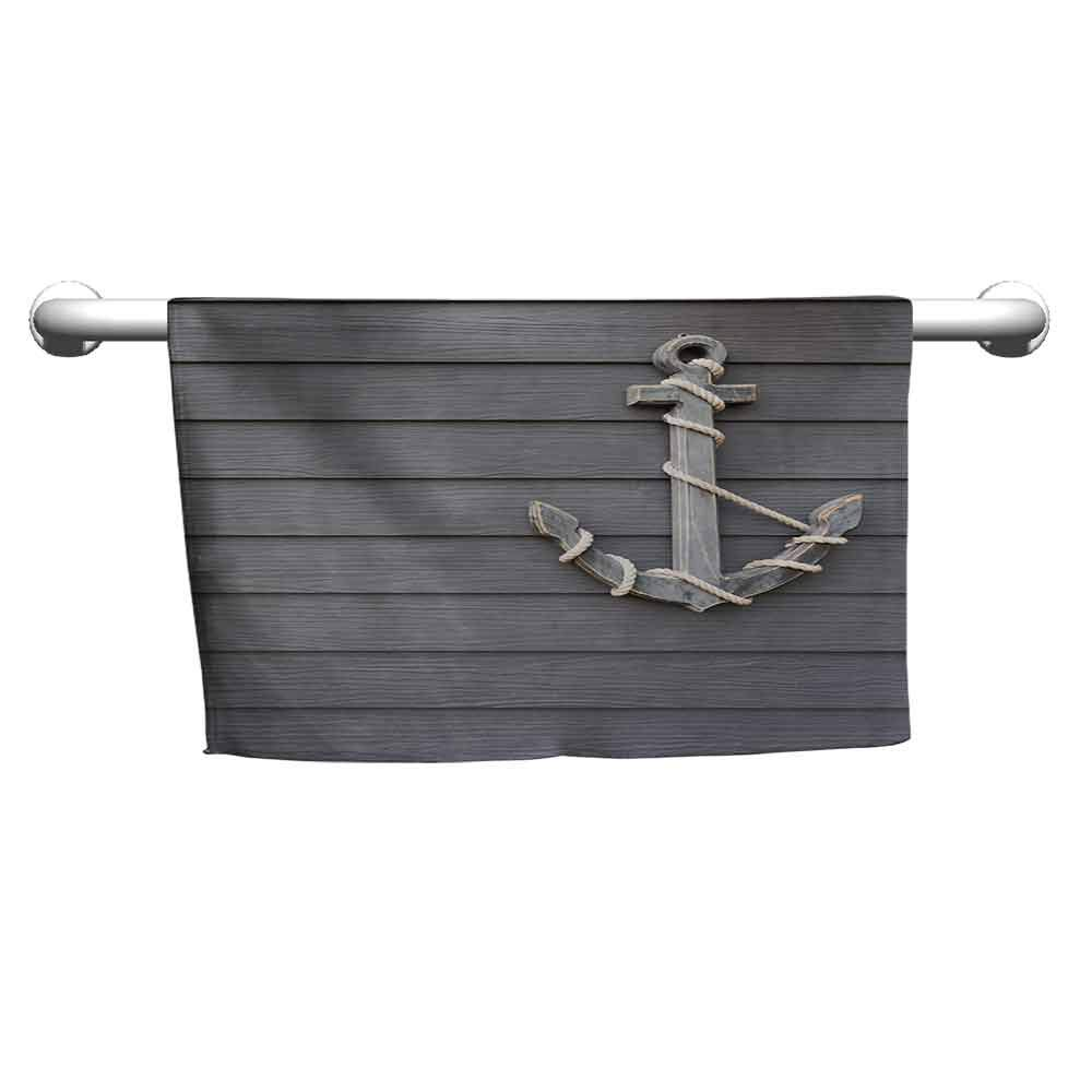 duommhome Anchor Water-Absorbing Bath Towel Vintage Style Nautical Pirate Skull and Whale Design with Ship Anchor Image W8 x L23 Dark Blue White