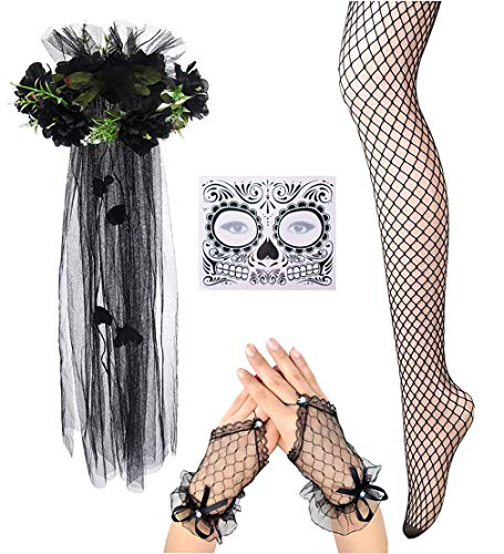 Women Halloween Day of the Dead Veil With Flower in Black Lace Necklace Earring Set (Black #2)