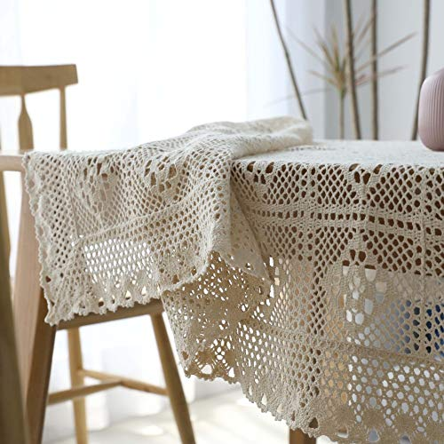 HOMEJYMADE Openwork Tablecloth,Handmade Crochet Pierced Table Cover Rural Style Cotton Cream Table Cloth-A 140x220cm(55x87inch)