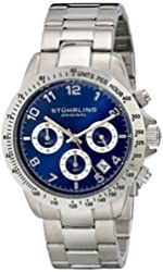Stuhrling Original Concorso Mens Sports Watch - Analog Quartz Chronograph Watch - Blue Dial Date Display Wrist Watch for Men - Mens Designer Watch with Stainless Steel Bracelet 665B.02