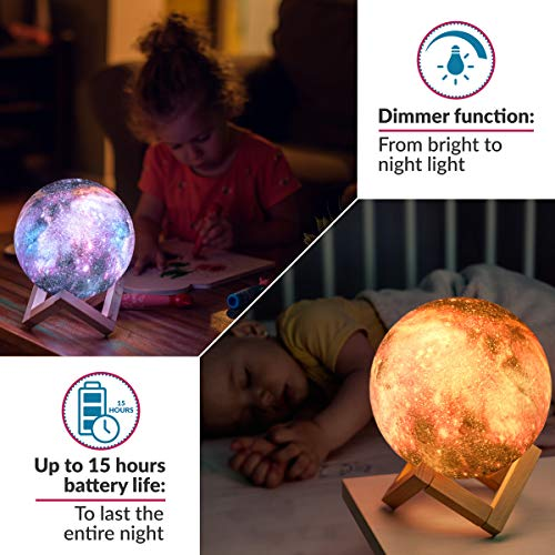 3D Galaxy Moon Lamp by Mind-glowing – Cool Kids Galaxy Moon Night Light (Standard, 4.7in) with 16 LED Colors, Touch…