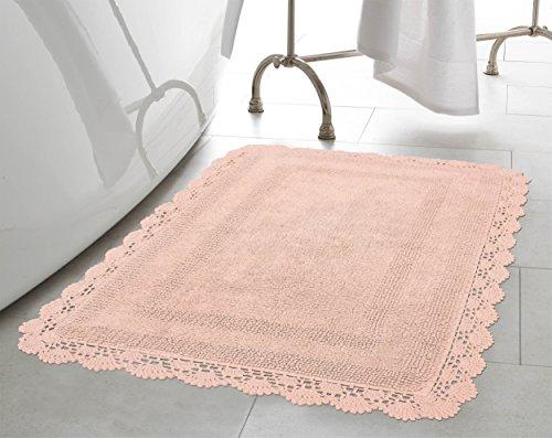 Laura Ashley Crochet Cotton 17x24/21x34 in. 2-Piece Bath Rug Set, Blush ()