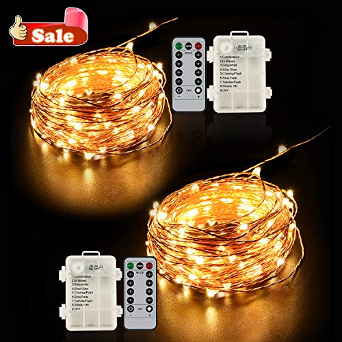 Ylife 2 Pack Fairy Light Battery Operated, 16.4Ft 50 LED Waterproof Warm White String Lights,8 Modes Remote Control, Decorative Copper Wire Lights for Festival Party