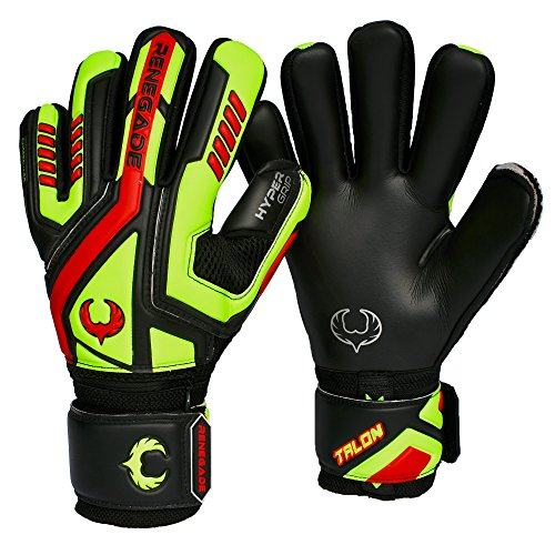 Renegade GK Talon Revolt Negative Cut Level 2 Adult & Youth Soccer Gloves Goalkeeper with Pro-Tek Fingersaves - Junior Soccer Goalie Gloves 7 Size Black, Neon Yellow, Red
