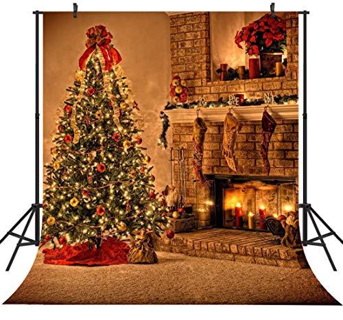 Duluda 10X10FT Seamless Christmas Tree Fireplace Vinyl Photography Backdrop Customized Photo Background Studio Prop XM23D