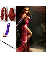 TENGS® Jessica Rabbit Cosplay Set :Long Wavy Copper Red Wig, Purple Gloves & Props Cigarette Holder
