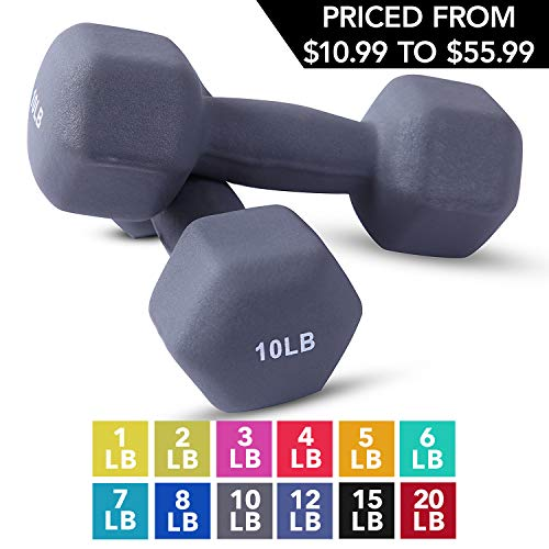 Neoprene Dumbbell Pairs by Day 1 Fitness - 10 Pounds - Non-Slip, Hexagon Shape, Color Coded, Easy To Read Hand Weights for Muscle Toning, Strength Building, Weight Loss