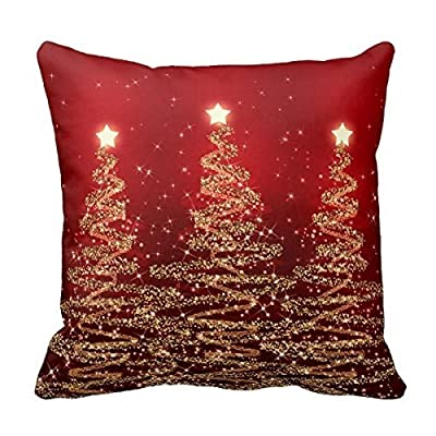 Bedding Pillow Case Home Decoration Square Decorative Cushion Cover Pillowcase LINKWELL 18 X 18 Inches Elegant Sparkling Trees Red Throw Pillowcases