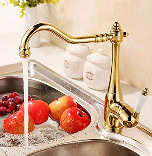 Gold Plate Kitchen Sink Faucet Single Ceramic Handle Deck Mount Mixer Tap- for kitchen tools,restaurant,Hotel -modern and class