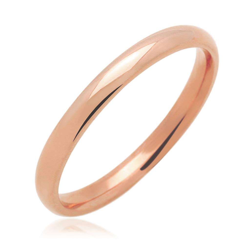 14K Yellow Gold, Rose or White Gold 2mm Comfort Fit Classic Domed Plain Wedding Band (Size 3 to 11.5), 7.5