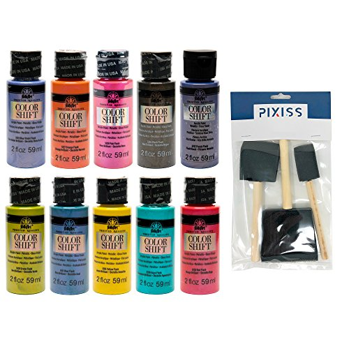 FolkArt Color Shift Acrylic Paints 2-Ounce Bottles Complete Set of All 10 Colors, Pixiss 3 Pack Foam Brushes 1-inch, 2-inch, 3-inch