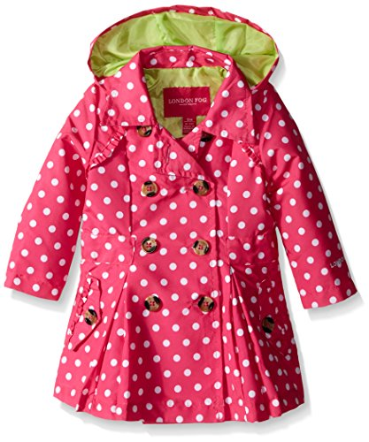 London Fog Baby Girls' Lightweight Polka Dot Trench Coat, Pink, 24 Months]()