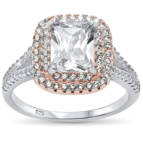 (Oxford Diamond Co Sterling Silver Two Tone Radiant Cut Cubic Zirconia Ring Sizes 7)
