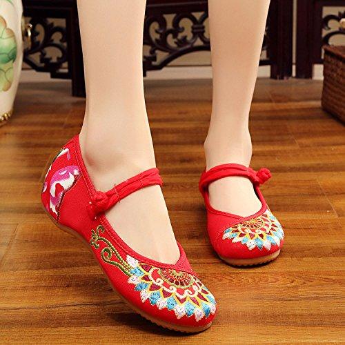 GuiXinWeiHeng xiuhuaxie (new)-Gestickte Schuhe, Sehnensohle, ethnischer Stil, weibliche Tuchschuhe, Mode, bequem, l?ssig innerhalb der Zunahme, black, 35
