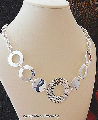 16 Inch Bright Silver Textured Open Solid Round Link Cable Chain Choker Necklace