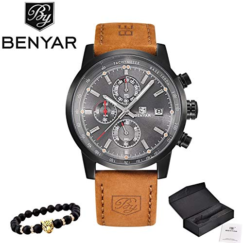 Amazon.com: Grass 135 reloj Hombre 2017 top Brand Luxury benyar Fashion Chronograph Sport Mens Watches Military Quartz Watch Clock relogio Masculino: Cell ...