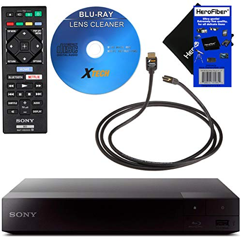 Sony BDP-S3700 Blu-Ray Disc Player with Built-in Wi-Fi + Remote Control, Bundled with Xtech Blu-ray Maintenance Kit + Xtech High-Speed HDMI Cable with Ethernet + HeroFiber Gentle Cleaning - Wifi Dvd Hdmi With Player