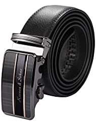 KS Men's Luxury Black Genuine Leather Belt Sliding Automatic Lock Alloy Buckle KB065
