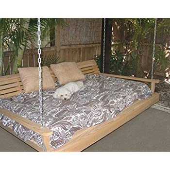 Elegant Cypress Porch SWING BED 6 Ft With Heavy Duty 10ft Galvanized CHAIN Set And  Made From Photo Gallery