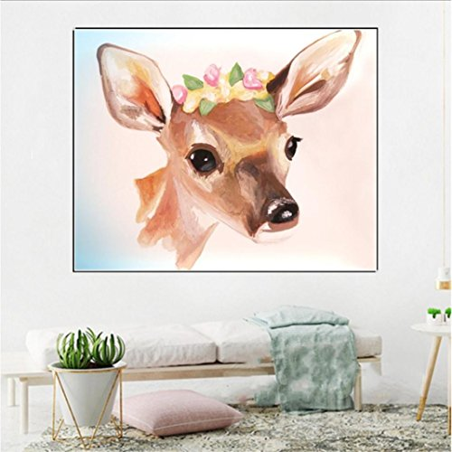 5D Diamond Painting by Number Kits, Crystal Rhinestone Diamond Embroidery Paintings Pictures Arts Craft for Home Wall Decor, Colorful Deer (F) by Franterd DIY (Image #3)