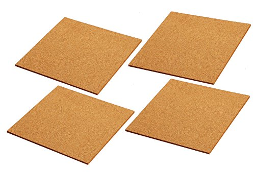 Cork Tile Boards -Frameless - Mini Wall Bulletin Boards - Natural - 4 Pack - 12 x 12 Inches (Cute Bulletin Boards)