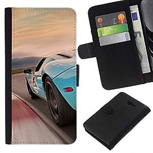 KLONGSHOP // Tirón de la caja Cartera de cuero con ranuras para tarjetas - Azul Racing Car - Sony Xperia M2 //