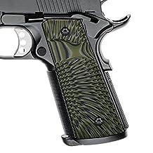"1911 Full Size Slim G10 Grips, Magwell Cut, 3/16"" Thin, Big Scoop, Ambi Safety Cut, Sunburst Texture, Cool Hand Brand"