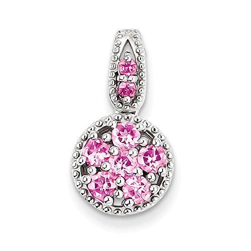 Argent fin 925/1000 avec Tourmaline rose et pendentif en forme de cercle Motif JewelryWeb