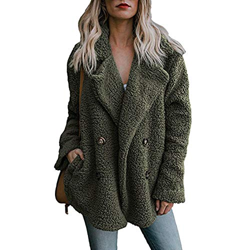 Mysky Women Casual Faux Fur Warm Parka Jacket Outwear Ladies Solid Thick Coat Cardigen Outercoat Army ()
