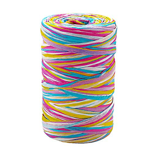 Tenn Well Colored Raffia Ribbon, 3/16 inch by 328 Feet Matte Paper Craft Ribbon for Gift Wrapping, Gift Box Packing, Party Decor and Craft Projects