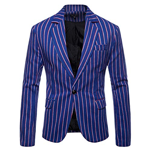 (Men's Casual Pinstripe Sport Coat Notch Lapel Classic Fit Printed Blazer Blue)