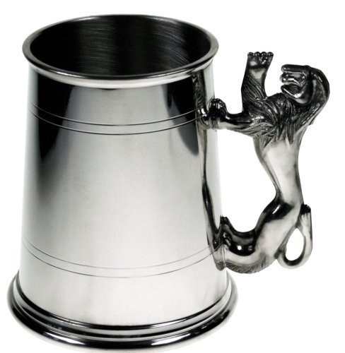 (Pewter-one Pint Lined Pewter Tankard with Lion Handle)