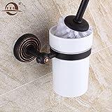 Black toilet brush holder,brass European-style toilet Cup
