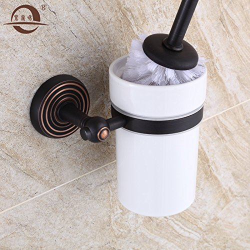 Black toilet brush holder,brass European-style toilet Cup by ZYZX