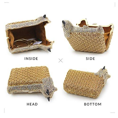 Milisente Women Evening Bag Puppy Crystal Clutch Purse Party Evening Handbag (Gold) by Milisente (Image #4)