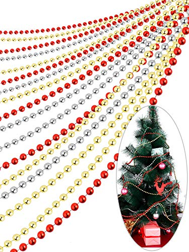 50 Feet Faux Pearls Beads Garland Chain Christmas Tree Beads Plastic Beaded Trim for Christmas Wedding Supplies, 3 Colors