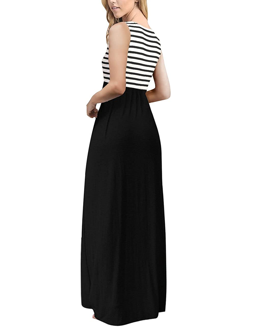 04b93e7c46c MEROKEETY Women s Summer Striped Sleeveless Crew Neck Long Maxi Dress Dress  with Pockets at Amazon Women s Clothing store