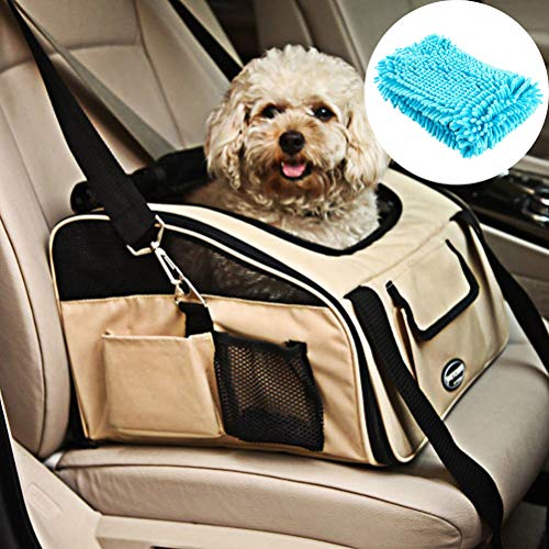 Pet Car Seat Carrier Airline Approved for Dog Cat Lookout Pets up to 20 lbs (Large, Khaki)