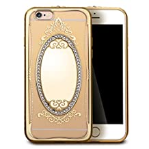 iPhone 6S Plus Case,iPhone 6 Plus Case,GIZEE Glass Mirror TPU Case Glitter Bling Crystal Rhinestone Diamonds Gold Plating Frame Soft Silicone Bumper Case Cover for iPhone 6/6S Plus 5.5""