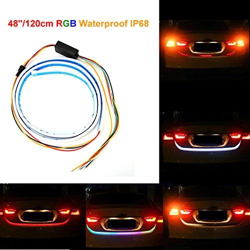 1pc 120cm RGB LED Strip Lighting Rear Trunk Tail Light Dynamic Streamer Brake Turn Signal Led Warning Lights Strips Car Styling GUANGGU