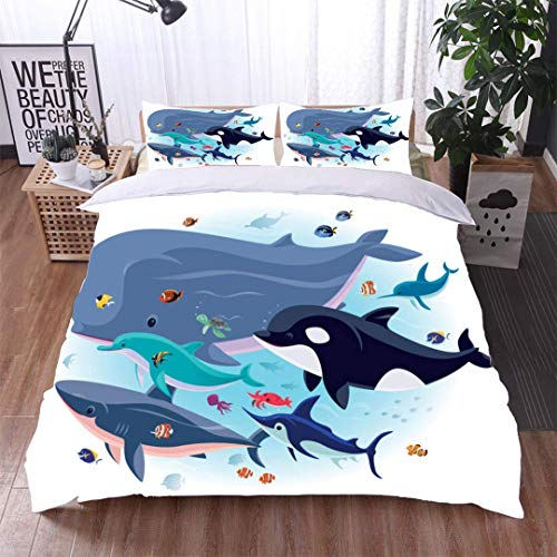 VROSELV-HOME Kids Quilt 3 Piece Bedding Set,sea Creatures with Tropical Fishes,Soft,Breathable,Hypoallergenic,Bedding Sets,1 Duvet Cover,1 Pillowcase