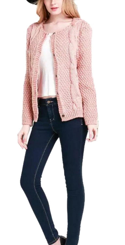 Enlishop Women's Casual Cable Knit Crewneck Kardigan Sweaters Jacket