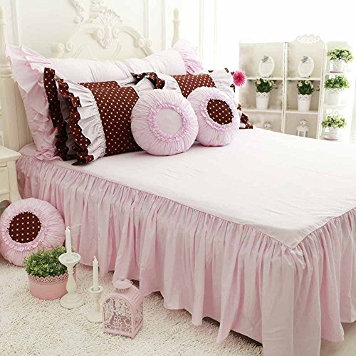 TideTex 4-piece Romantic Vintage Bedding Set Fashion Lace Flouncing Duvet Cover Set European Rural Cotton Home Textiles Sets Cute Girl Bed Skirt Sets Princess Bedding (California King, Photo color) by TideTex (Image #1)