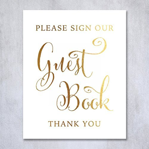Guest Book Gold Foil Sign Wedding Reception Party Signage Art Print Modern Small Poster Decor 5 inches x 7 inches D34