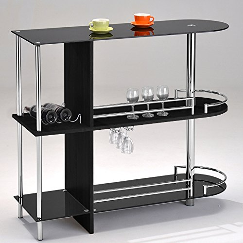 Two Glass Shelves - Kings Brand Furniture Bar Table with Two Tempered Glass Shelves, Black