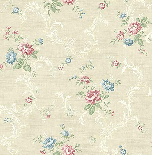Tossed Floral Scroll Wallpaper in Warm Primary MV80107 from Wallquest