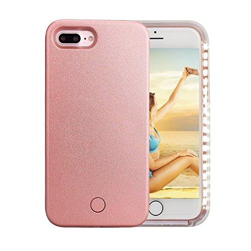 iPhone 7 Plus Case,iPhone 8 Plus Case,Joseche iPhone 7 Plus Selfie Light Case LED Illuminated [Rechargeable] Light Up Luminous Selfie Flashlight Case for iPhone 7 Plus/8 Plus(Rose Gold)