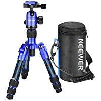 Neewer Carbon Fiber 20 inches/50 centimeters Portable Travel Desktop Mini Tripod with 360 Degree Ball Head,Quick Shoe Plate,Bag for DSLR Camera,Video Camcorder up to 11 pounds/5 kilograms T350C(Blue)