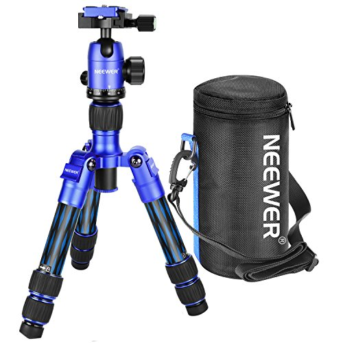 Neewer Carbon Fiber 20 inches/50 centimeters Portable Travel Desktop Mini Tripod with 360 Degree Ball Head,Quick Shoe Plate,Bag for DSLR Camera,Video Camcorder up to 11 pounds/5 kilograms T350C(Blue) by Neewer