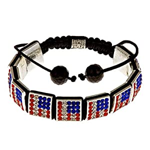 "Royal Diamond Patriotic ""Stars and Stripes"" Square Crystal Shamballa-Style Hip Hop Bracelet"